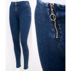 B16807 Women Jeans Treggins Pants with Gold Slider