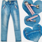 A19194 Girls jeans Pants with Pendants, 4-12 years