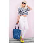 B16714 Women White Pants Jeans, Tubes, High Waist