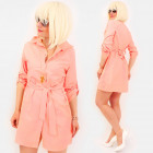 R95 Tied Dress, Loose Tunic, Shirt Style, Peach