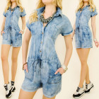 BI414 LOOSE OVERALL, SHADED JEANS, SHORTS, coton