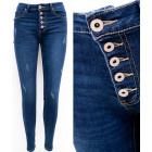 B16798 Charming Ladies Jeans, Mega Buttons, Navy