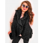 EM39 Fur Vest Poncho Winter Jacket Black