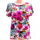 Cotton Women's Shirt, M-3XL, Flowers, 5234