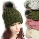 Winter Hat With Fleece, Fur Pompom, 5039