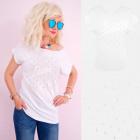A879 T-Shirt coton pour femmes, haut, icône blanch
