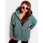 EM32 Women Plus Size Jacket, Hood, Kimono, Boucle