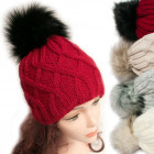 Winter Hat With Fleece, Fur Pompom, 5040