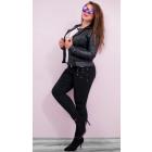 B16722 Pantalon Jeans Femme, Grandes Perles Décora
