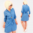 R81 Tied Dress, Loose Tunic, Shirt Style, Blue