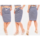 C24236 Pencil Skirt, Pattern with Stripes, Pockets