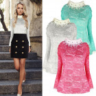 AW042 Elegant sequined blouse Lace, Mandarin colla