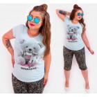 G1202 Bawełniany T-Shirt Women, Top, Teddy Bear
