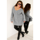 PL29 Long Woolen Sweater with Braid, Gray