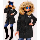 4414 Long Women Jacket with Fur, Black