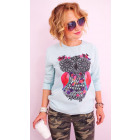 A808 Loose Cotton Sweatshirt for Women, Ethnic Owl