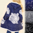 B16563 Cardigan sweater, Cape, predatory tiger