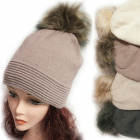 Winter Hat With Fleece, Fur Pompom 5042