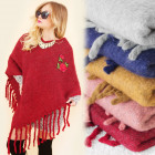 A1208 Wool Warm Poncho, Mega Tassels, Rose