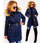 4419 Winter Women Jacket with Fur, Navy
