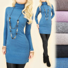 C22134 Winter-Tunika-Kleid, Rollkragenpullover, Ka