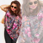 O14 Double-sided scarf, shawl, jeans and flowers