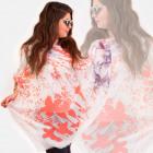 O25-Schal, Frauenschal, abstrakt gemalte Blumen