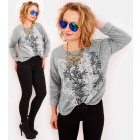 R63 Loose Oversize Sweater, Warm Blouse, Leaves