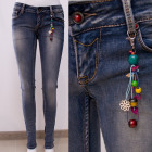 B16848 Beautiful Jeans Pants With Folk Pendant