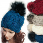 Winter Hat With Fleece, Fur Pompom, 5041