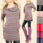 BI619 Stylish Tunic, Glossy Knitwear, Slim