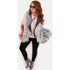 EM40 Fur Women Vest, Winter Poncho, Jacket, Gray