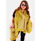 EM17 Fur Women Jacket, Vest, Poncho Mustard Color
