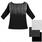 N079 Blouse, Plus Size Tunic Oversize, Silver Look
