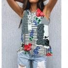 Women Blouse, Summer Top, Flowers L-4XL, 6610