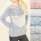 C11302 Soft, Hairy Sweater, Pullover, Big Heart