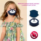 Kids protective mask 4-8 , 2 layers, teddy bear
