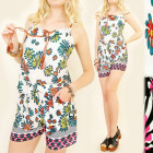 C1788 SUMMER SET TOP + SHORTS, BEAUTIFUL FLOWERS