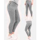A856 Pantalon Femme, Bretelles Verticales et Zips
