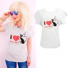 K586 Cotton T-Shirt , Top, I Love Cats Gray