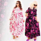 C17559 Long, Feminine Dress, Plus Size, Flowers