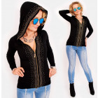 D1472 Cardigan with a Hood, Gold Slider and Jets