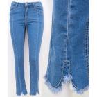 B16821 Women's Jeans, Frayed Legs, Blue
