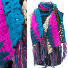Warm Wool Shawl, Rainbow Colors A12105