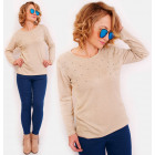 R18 Cotton Women Maglione con getti, oversize, BE