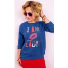 A827 Baumwollfrauen-Sweatshirt, Druck: Ich bin Dam