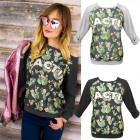 K499 Loose Cotton Women's Sweatshirt, Green Ca
