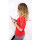 D2671 Attractive Top Blouse, Lace Inserts