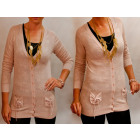 D14108 Cute, Embossed Openwork Sweater, Pockets