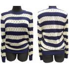 Durchbrochener Pullover, Streifenmuster, S - XL, C
